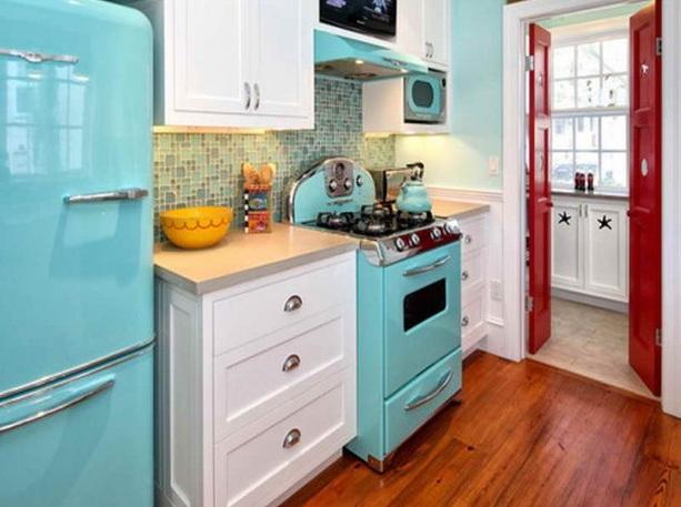 Red white and blue kitchen decor with modern kitchen appliances ...