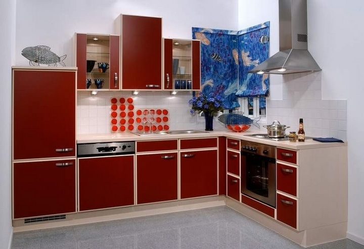 Red White And Blue Kitchen Decor With Modern Kitchen Cabinet Amazing Design