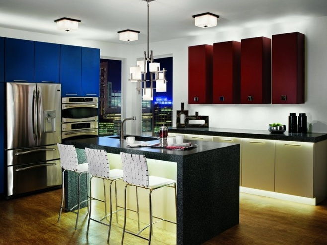 Red White And Blue Kitchen Decor With Modern Lighting