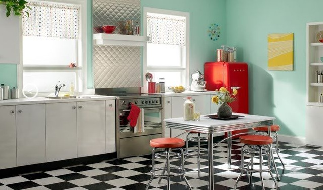 Red White And Blue Kitchen Decor With Refrigerator