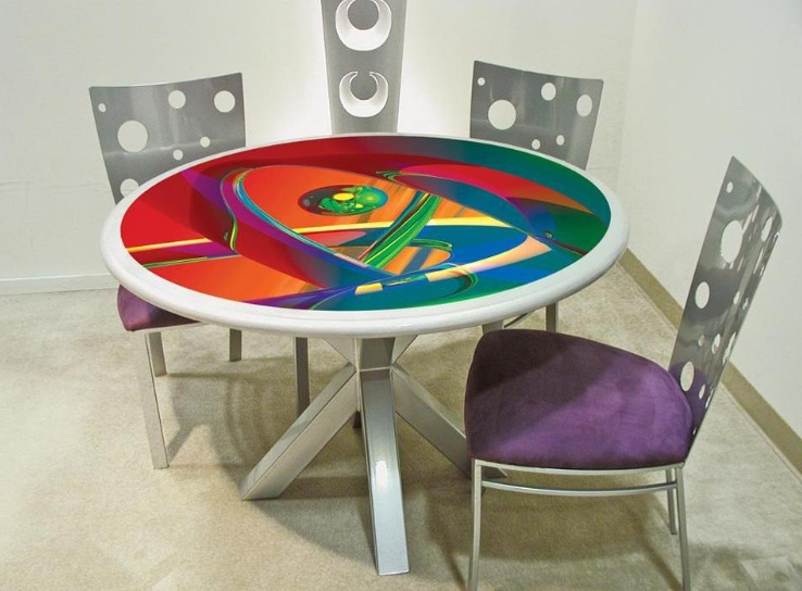 Round Colorful Dining Room Table Ideas With Three Armless Chairs