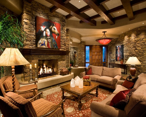 rustic western living room decor with natural wall stone and wood