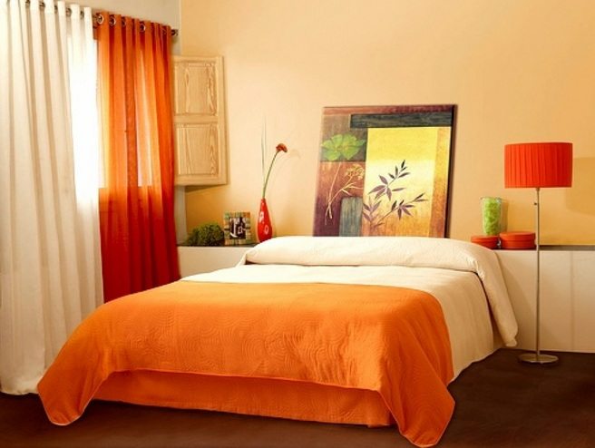 Decorating ideas for small bedrooms with orange wall color for Simple cheap bedroom designs