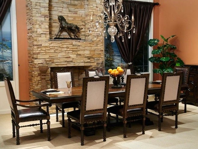 Small formal dining room ideas with stone wall decor for Formal dining room decorating ideas