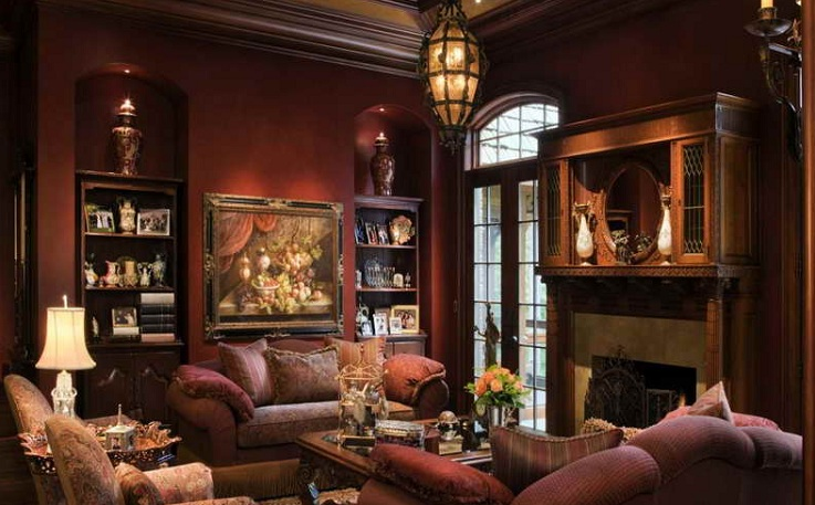 Western living room decor with antique light fixtures ...