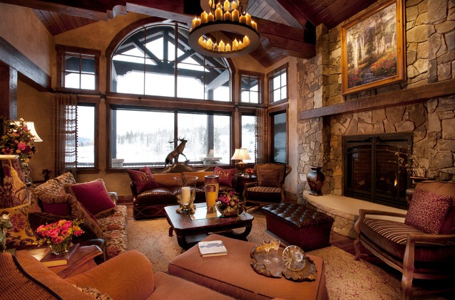 Rustic Western Living Room Decor With Natural Wall Stone