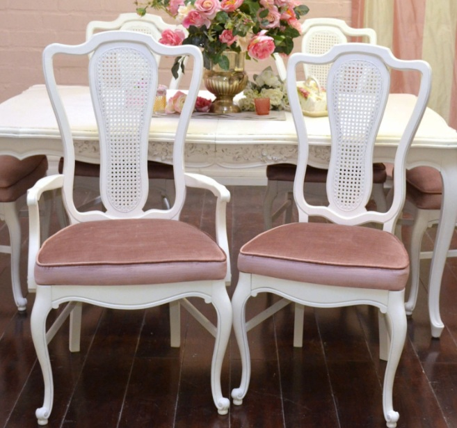 French provincial dining room furniture with white painted  : White and pink velvet French provincial dining room chairs furniture ideas from decolover.net size 657 x 615 jpeg 119kB