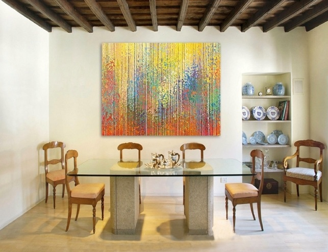 Abstract painting wall art for dining room ideas | Decolover.net