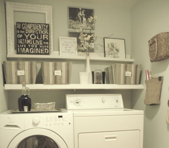 Countertops and shelves wall decor for laundry room - Laundry rooms for small spaces decoration ...