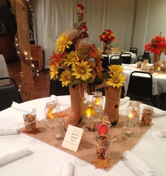 Cowboy Centerpiece Ideas With Boot Flower Vase