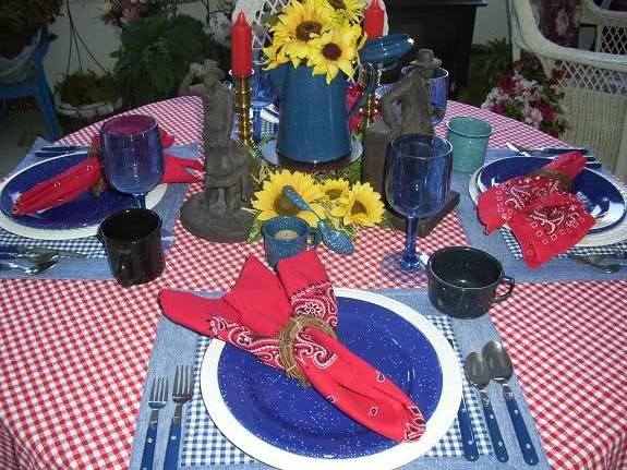 Cowboy Centerpiece Ideas With Hat And Hay Bales