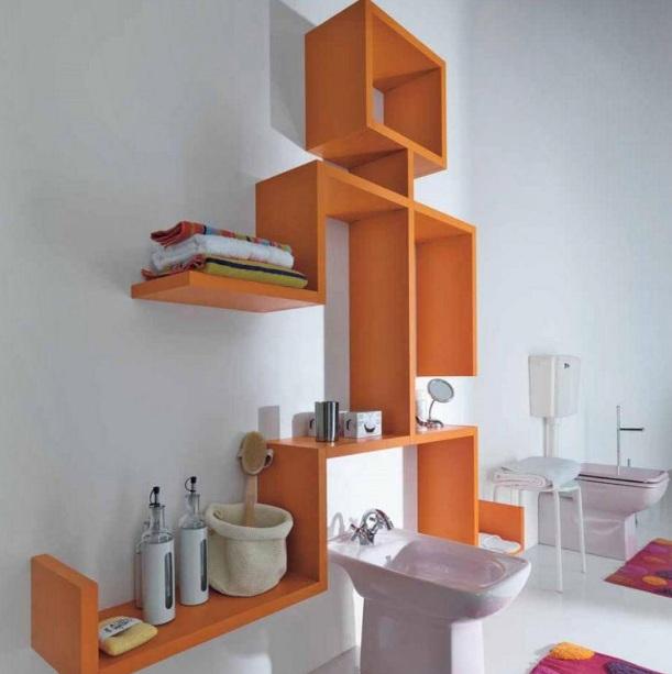 Decorative Bathroom Shelves With Custom Shelves Design