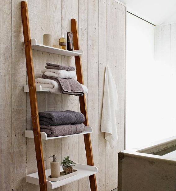 Decorative Bathroom Shelves With Ladder Design