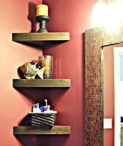 Decorative bathroom shelves with wood shelves | Decolover.net