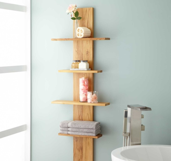 Decorative Bathroom Shelves With Wood Standing Corner