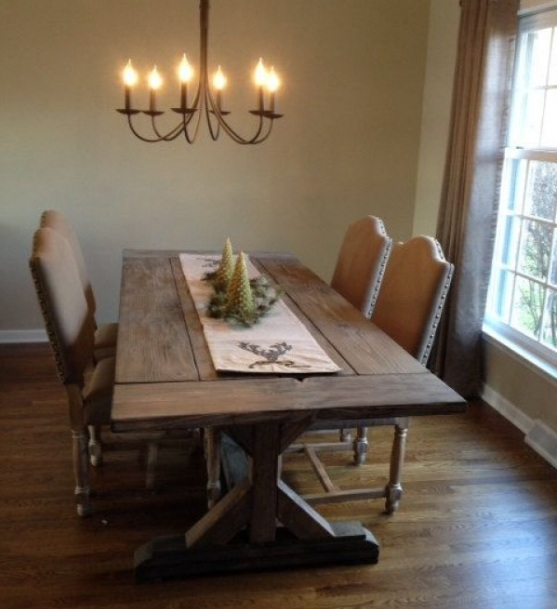 dining room tables farmhouse style with antique wall decor and dining chandelier