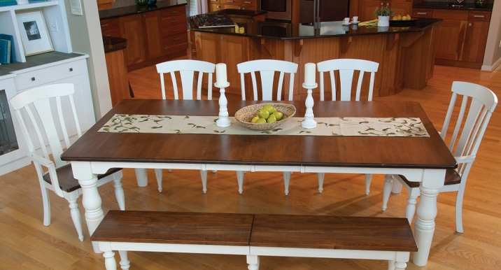 Dining Room Tables Farmhouse Style With White Painted Chairs And Bench