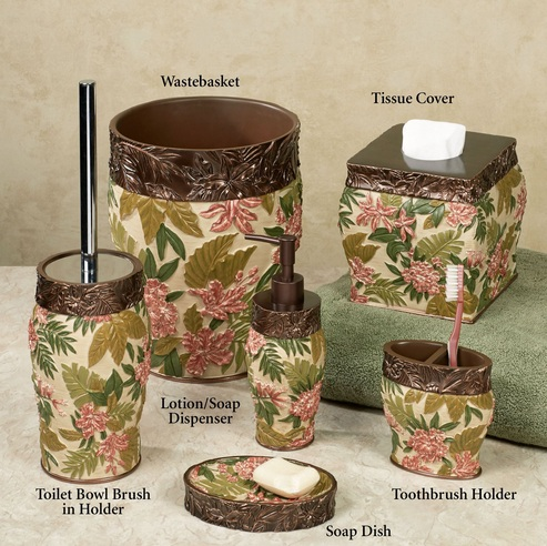 Flower Pattern Bathroom Vanity Accessories Sets For Tropical Themed Bathroom