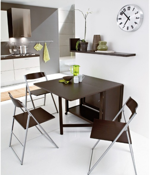 Wood drop leaf dining table ideas for small spaces with unique chairs - Dining table designs for small spaces model ...