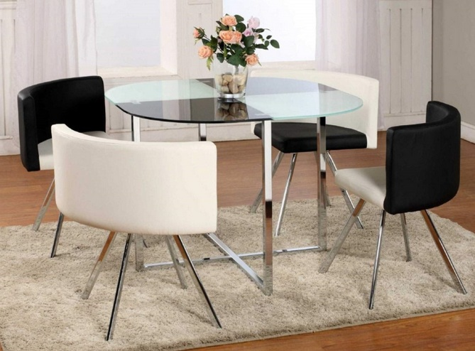 Glass top dining table ideas for small spaces with stainless steel table legs - Dining table designs for small spaces model ...