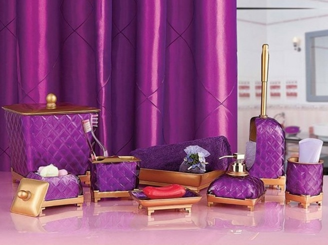 Gold And Purple Bathroom Vanity Accessories Sets