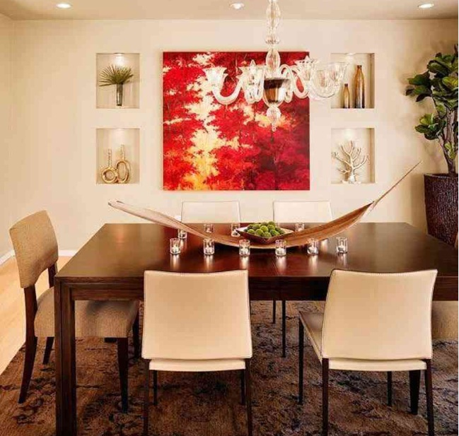 Red and white abstract wall art for dining room ideas for Dining room wall art