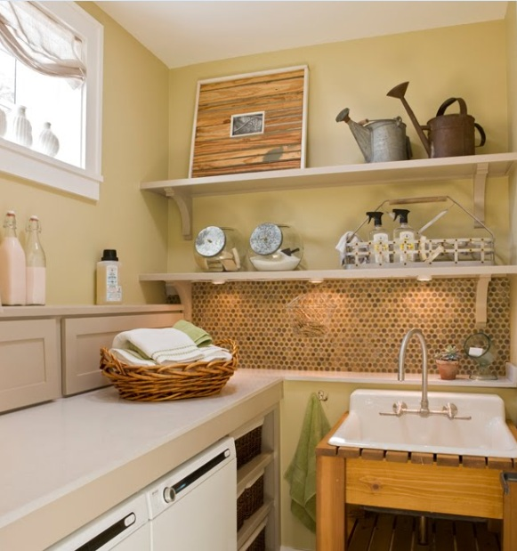 Vintage Laundry Room Decor With Vintage Basket Light Fixture