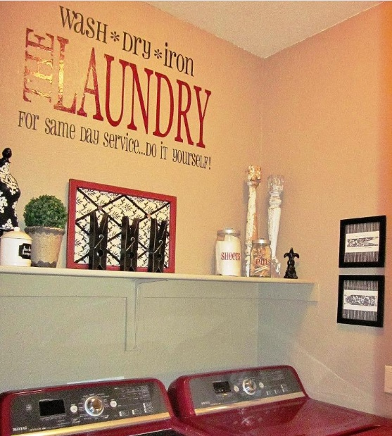 wall sticker and wall shelf decor for laundry room | decolover