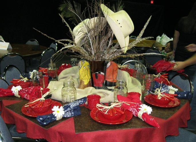 Western cowboy boot centerpieces themed table decorations for Table decorations