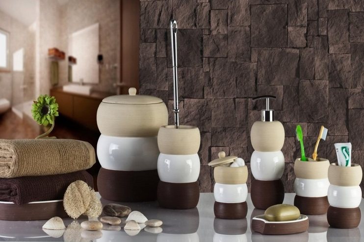 White And Brown Unique Bathroom Vanity Accessories Sets