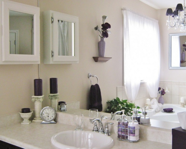 Amazing White And Purple Bathroom Vanity Accessories Sets