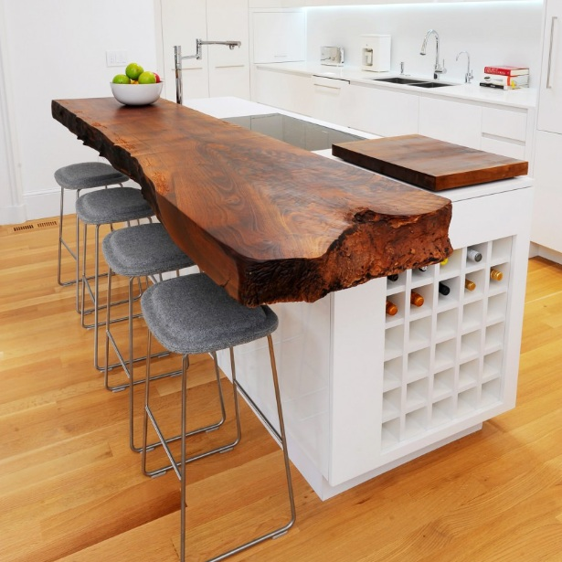 Wood Dining Table Attached To Island Ideas For Small Spaces | Decolover.net