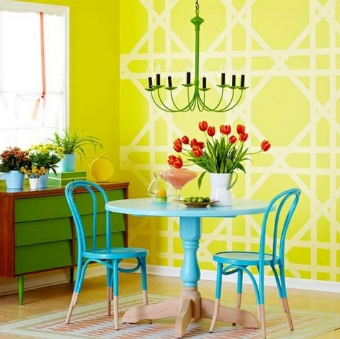 Yellow-white painting wall art for dining room ideas | Decolover.net