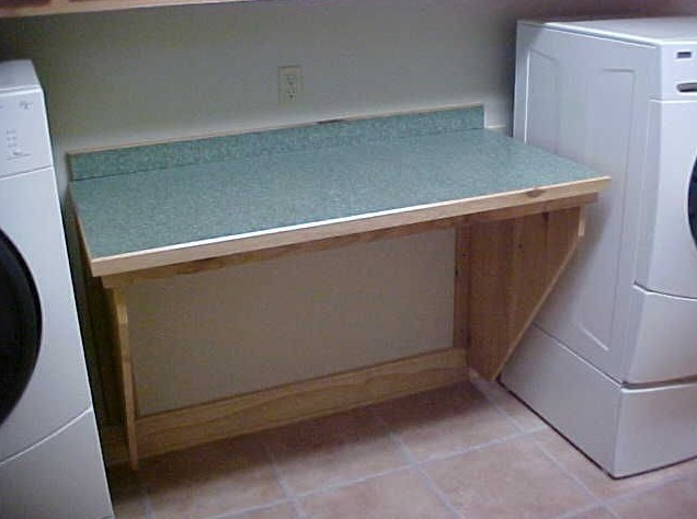 Wall Mounted Folding Table For Laundry Room With Drop Leaf