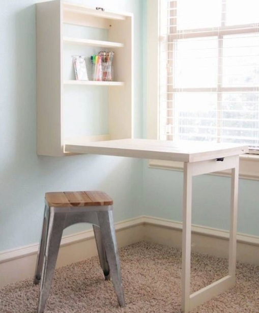 Wall Mounted Folding Table For Laundry Room Design