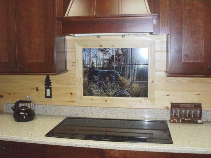 Black bear kitchen decor with black bear backsplash ...