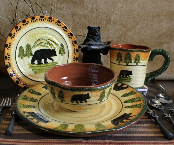 Amazing Black Bear Kitchen Decor With Black Bear Glass Dish