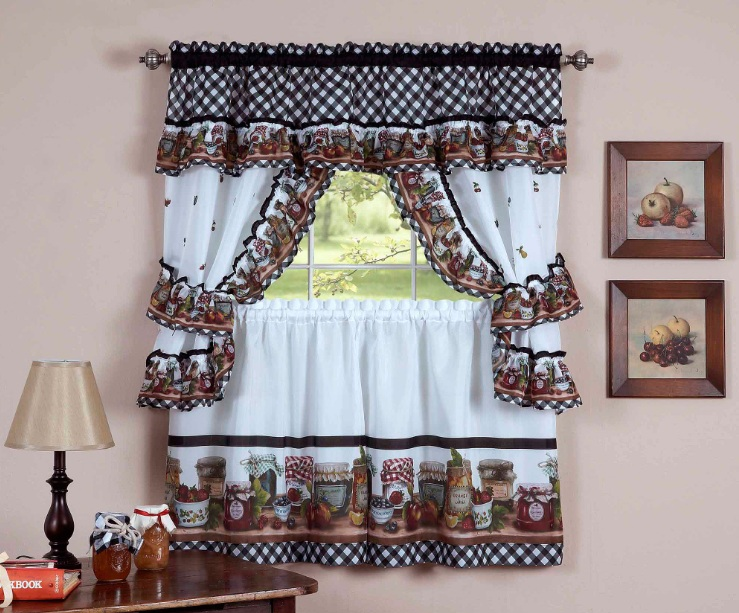Coffee Decoration For Kitchen Using Coffee Cup Print Curtains And Other  Related Images Gallery: Part 79