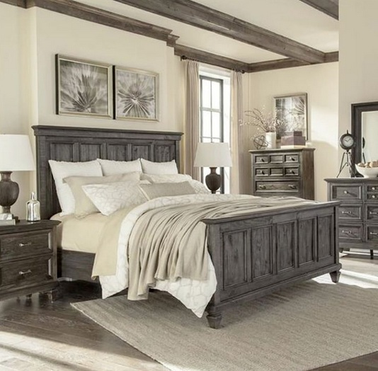 Farmhouse style bedroom with rustic ceiling fans for Farmhouse style bed