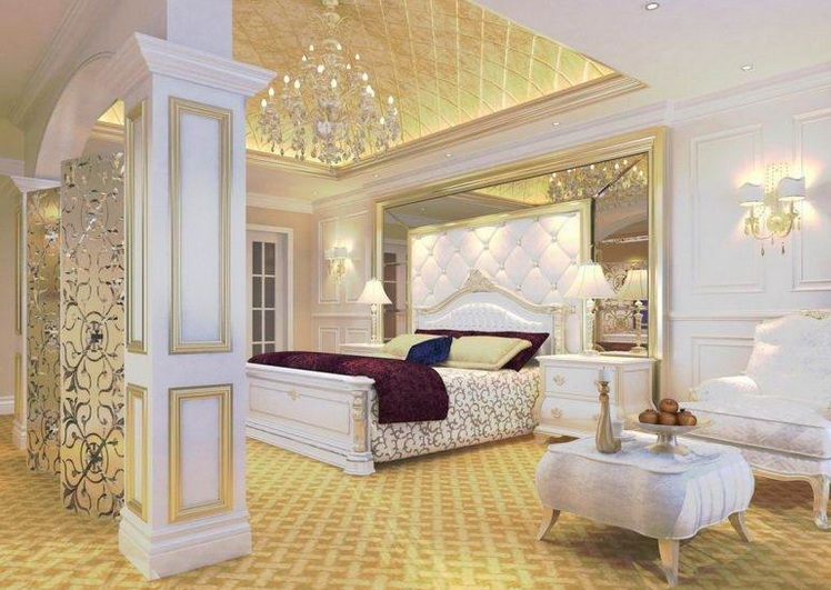 gold and white bedroom ideas for good vintage vibe to realize at home. Black Bedroom Furniture Sets. Home Design Ideas