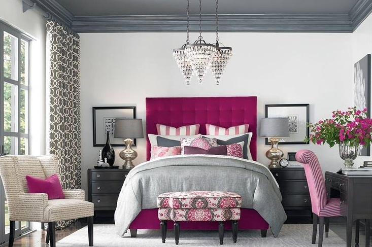 Pink and grey bedroom ideas with beautiful lighting for Bedroom ideas pink and grey