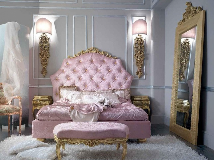 pink and grey bedroom ideas with vintage mirrors