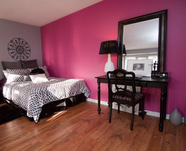 Pink and grey bedroom ideas with wooden bedroom vanity ...