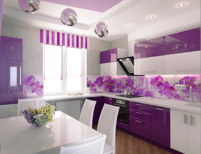 You Can Also Make Your Kitchen Lighting More Attractive With Purple Lamp  Shades. Then, You Can Also Accessorize The Kitchen Window With Purple  Curtains.