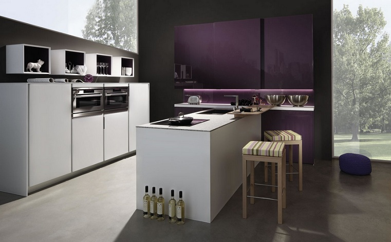 Purple Kitchen Decor With Purple Backsplash Lighting