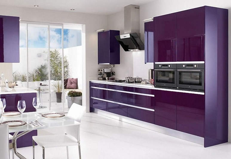 Lovely Purple Kitchen Decor With Purple Cabinets And White Wall Color Pictures Gallery