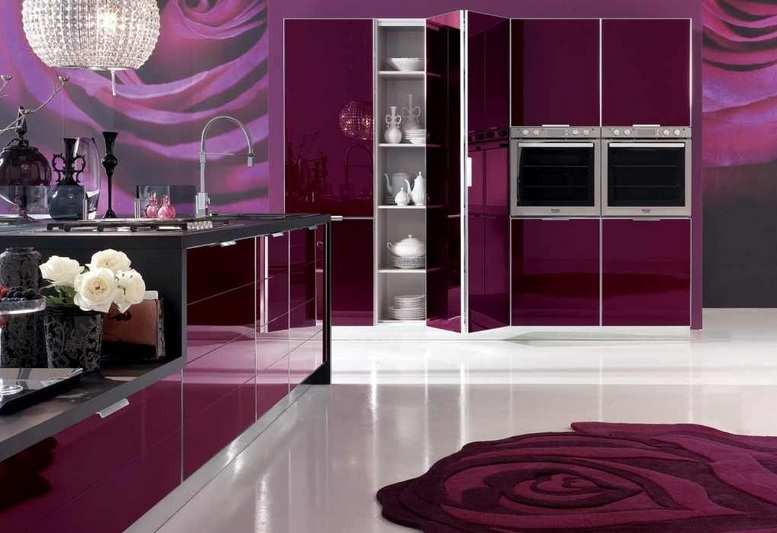 Purple Kitchen Decor With Purple Rugs