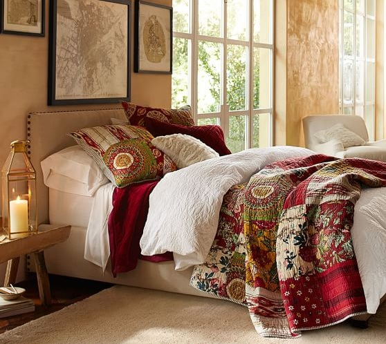 Quilts For Master Bedroom With Fl Patchwork Motifs