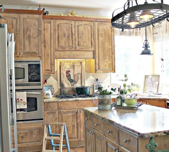 Delicieux Farm Animal Kitchen Decor With Brown Cabinet And Unique Lighting
