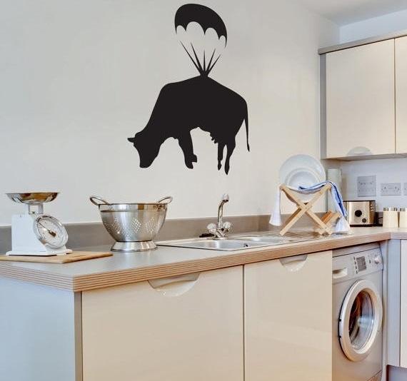 Unique Kitchen Decor: Farm Animal Kitchen Decor With Cow Patterned Curtain